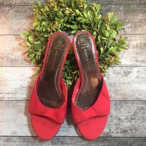 Red short heels. Size 6.5
